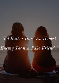 I'd rather have an honest enemy than a fake friend.