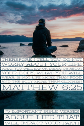 """""""Do not be worried about your life, as to what you will eat or what you will drink; nor for your body, as to what you will put on. Is life not more than food, and the body more than clothing?"""" (Matthew 6:25)"""