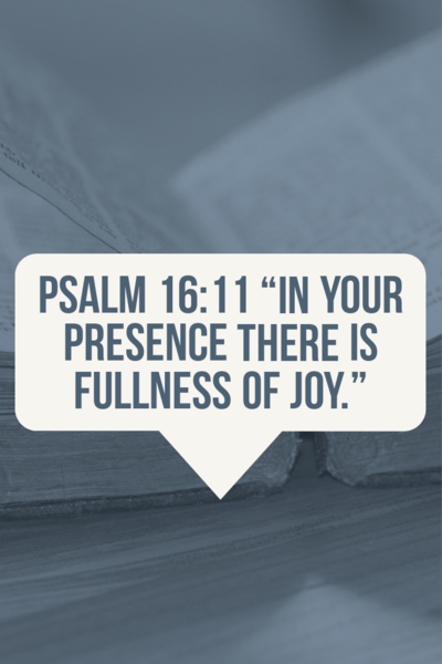 In Your presence is fullness of joy psalm 16:11